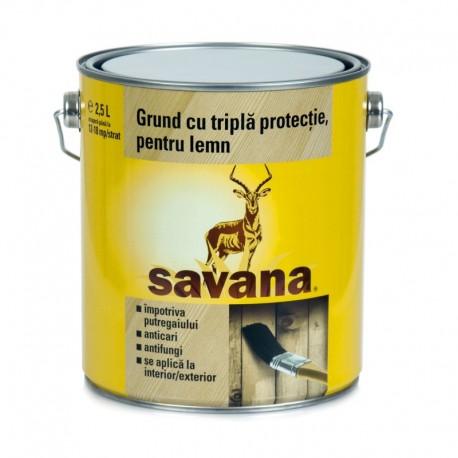 GRUND PENTRU LEMN, TRIPLA PROTECTIE, 2.5L, SAVANA